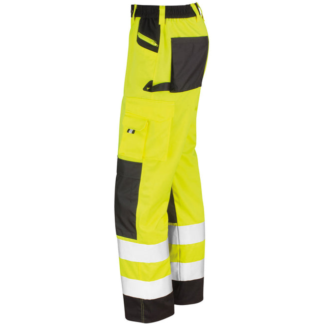 Hi-Vis Yellow - Pack Shot - Result Safeguard Adults Unisex Hi Viz Cargo Trousers