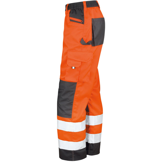 Hi Vis Orange - Pack Shot - Result Safeguard Adults Unisex Hi Viz Cargo Trousers