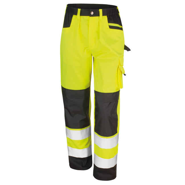 Hi-Vis Yellow - Front - Result Safeguard Adults Unisex Hi Viz Cargo Trousers