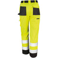 Hi-Vis Yellow - Side - Result Safeguard Adults Unisex Hi Viz Cargo Trousers