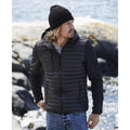Black - Back - Teejays Mens Hooded Full Zip Crossover Jacket
