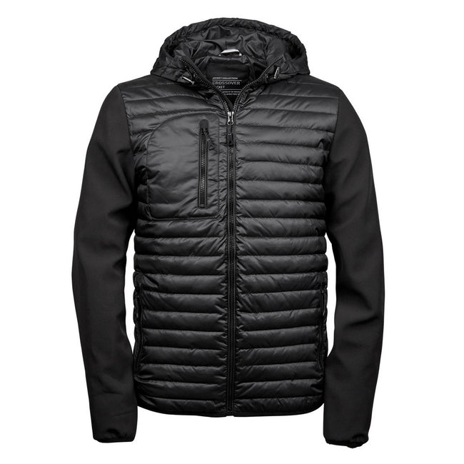 Black - Front - Teejays Mens Hooded Full Zip Crossover Jacket