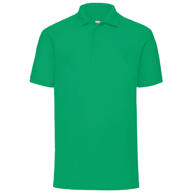 Heather Green - Front - Fruit Of The Loom Mens 65-35 Pique Short Sleeve Polo Shirt