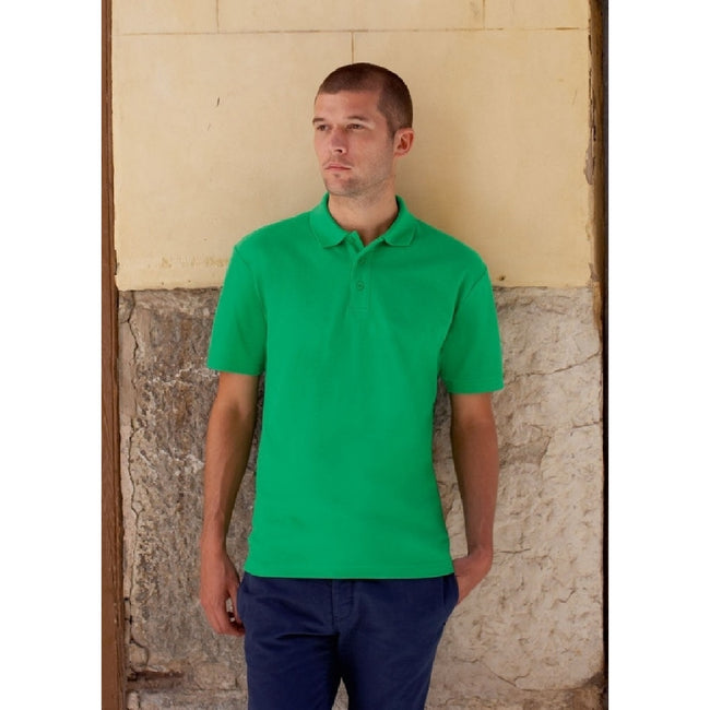 Heather Green - Back - Fruit Of The Loom Mens 65-35 Pique Short Sleeve Polo Shirt