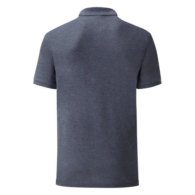 Heather Navy - Back - Fruit Of The Loom Mens 65-35 Pique Short Sleeve Polo Shirt