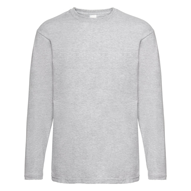Grey Marl - Back - Mens Value Long Sleeve Casual T-Shirt