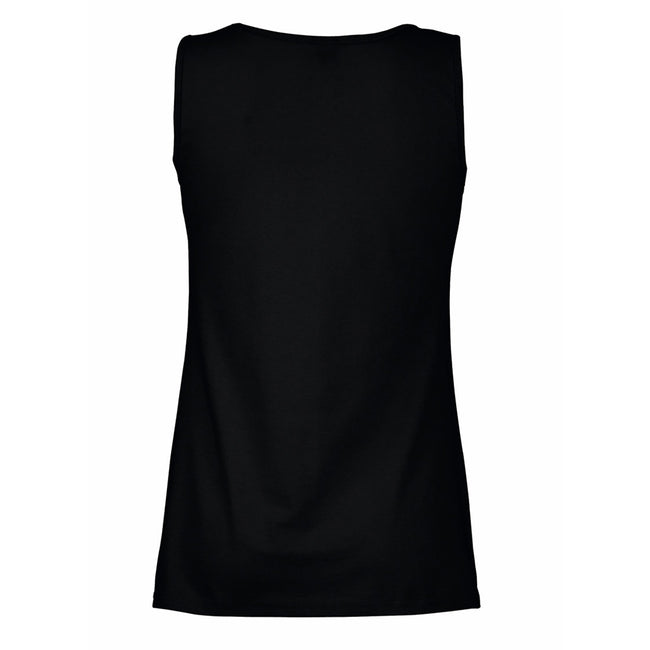 Jet Black - Back - Womens-Ladies Value Fitted Sleeveless Vest