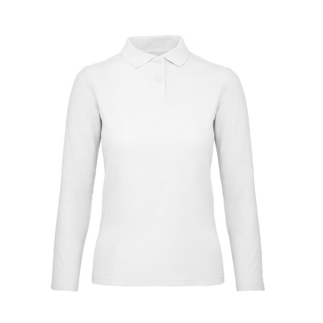 Snow - Front - B&C ID.001 Womens-Ladies Long Sleeve Polo