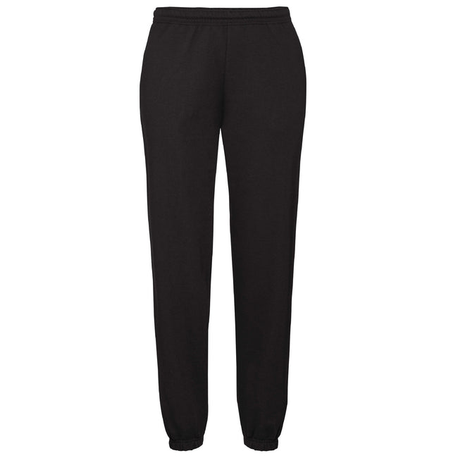 Black - Front - Fruit Of The Loom Mens Elasticated Cuff Jog Pants - Jogging Bottoms