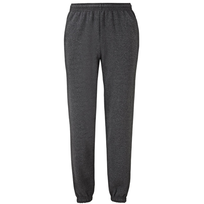 Dark Heather - Front - Fruit Of The Loom Mens Elasticated Cuff Jog Pants - Jogging Bottoms