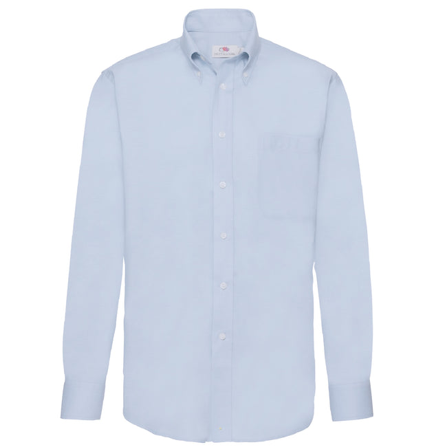 Oxford Blue - Front - Fruit Of The Loom Mens Long Sleeve Oxford Shirt