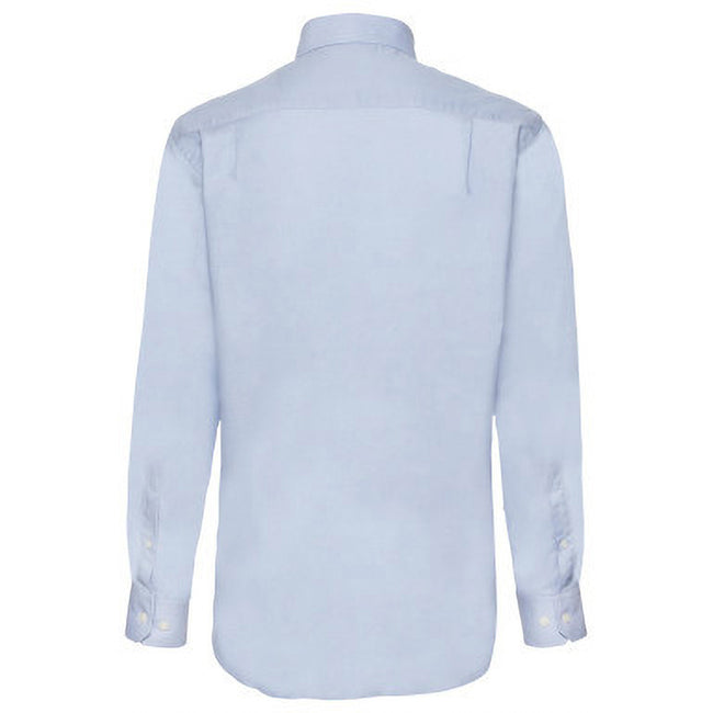 Oxford Blue - Side - Fruit Of The Loom Mens Long Sleeve Oxford Shirt