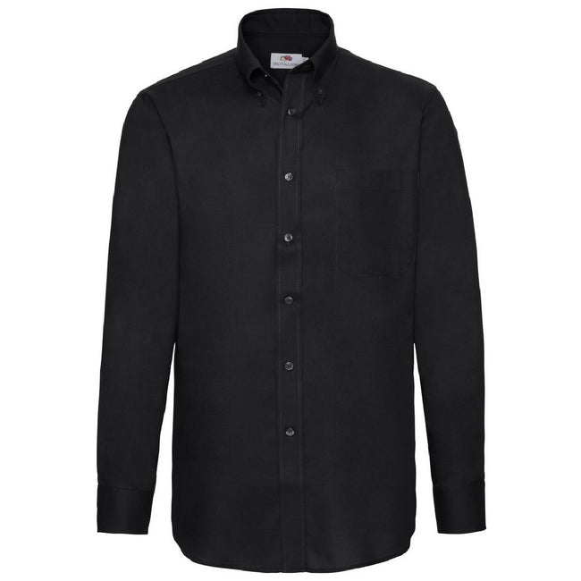 Black - Back - Fruit Of The Loom Mens Long Sleeve Oxford Shirt