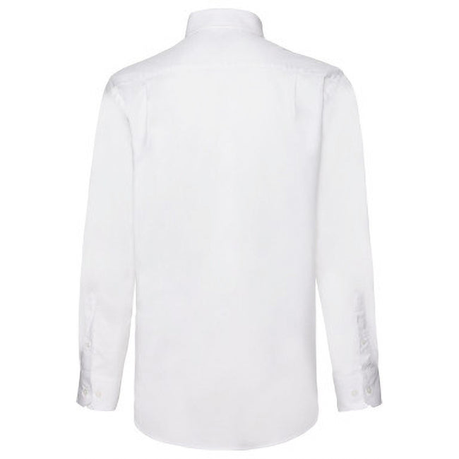 White - Side - Fruit Of The Loom Mens Long Sleeve Oxford Shirt