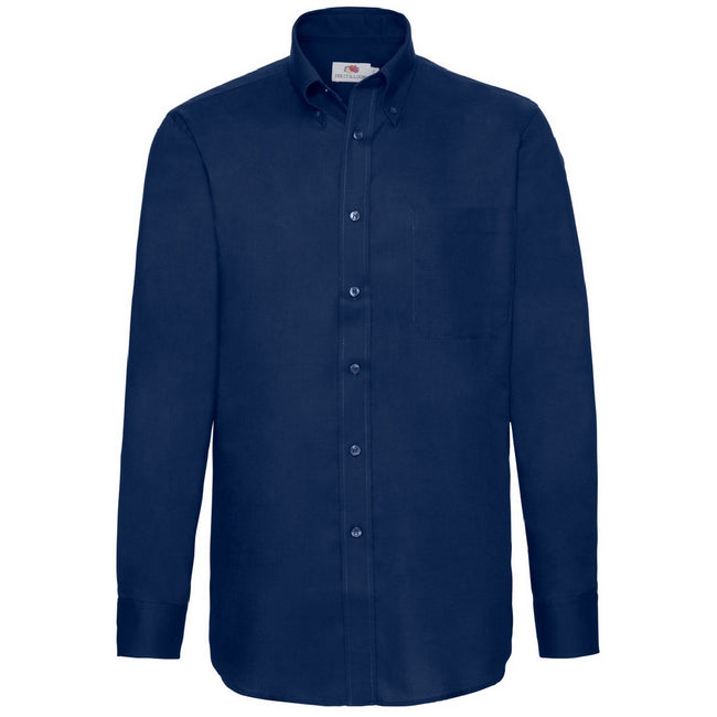 Navy - Front - Fruit Of The Loom Mens Long Sleeve Oxford Shirt
