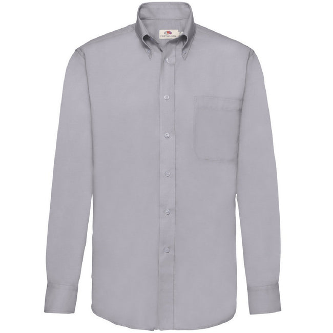 Oxford Grey - Front - Fruit Of The Loom Mens Long Sleeve Oxford Shirt
