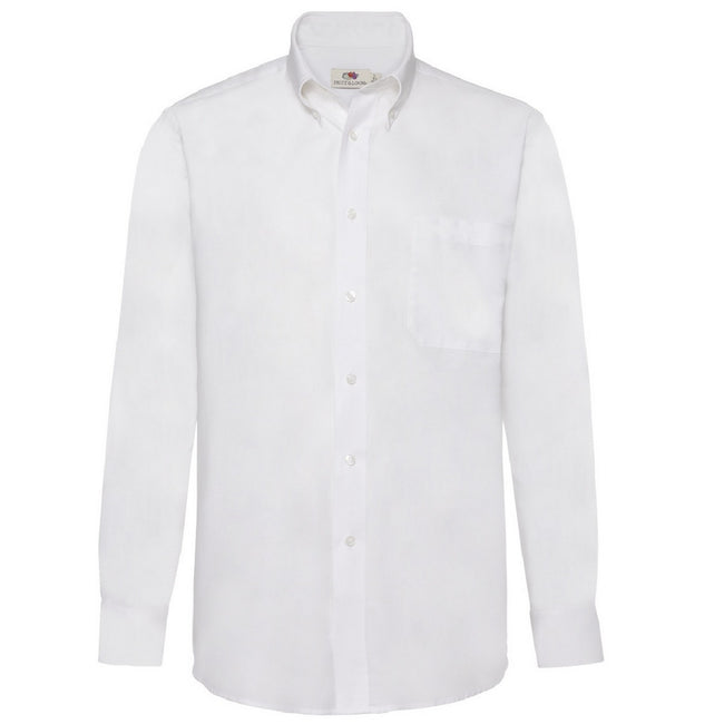 White - Front - Fruit Of The Loom Mens Long Sleeve Oxford Shirt