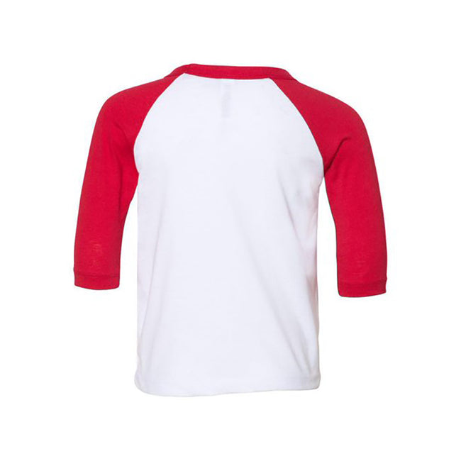 White-Red - Front - Bella + Canvas Baby Toddler 3-4 Sleeve Baseball Tee