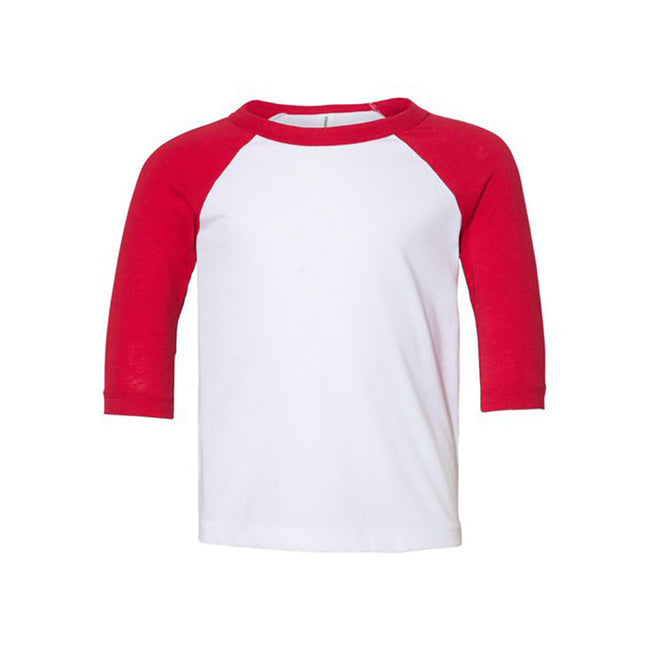 White-Navy - Front - Bella + Canvas Baby Toddler 3-4 Sleeve Baseball Tee