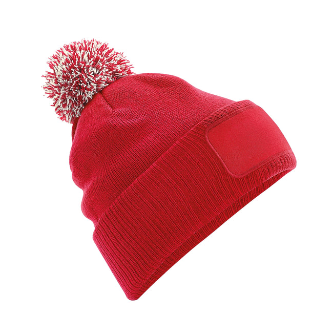 French Navy-Light Grey - Front - Beechfield Unisex Adults Snowstar Printers Beanie