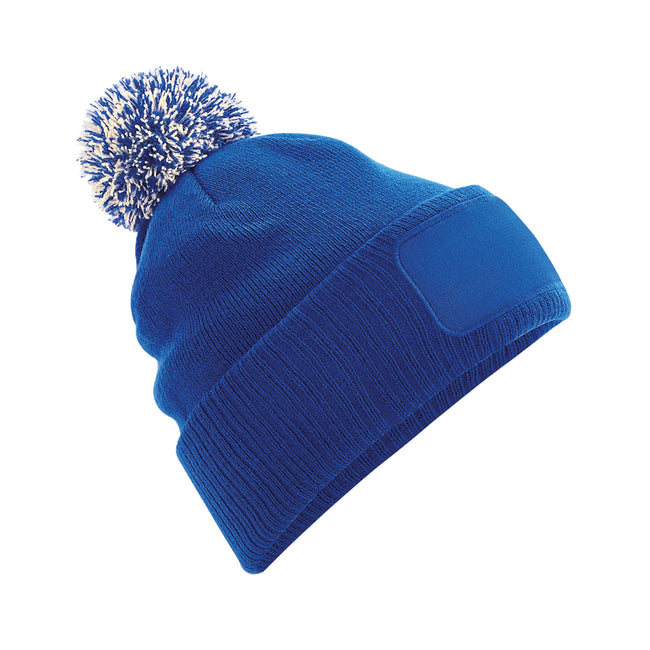 Bright Royal-off White - Front - Beechfield Unisex Adults Snowstar Printers Beanie
