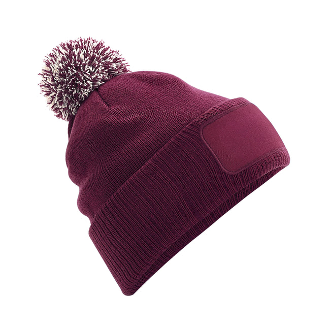 Burgundy-Off White - Front - Beechfield Unisex Adults Snowstar Printers Beanie