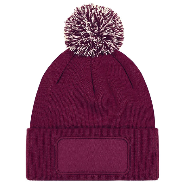 Burgundy-Off White - Back - Beechfield Unisex Adults Snowstar Printers Beanie