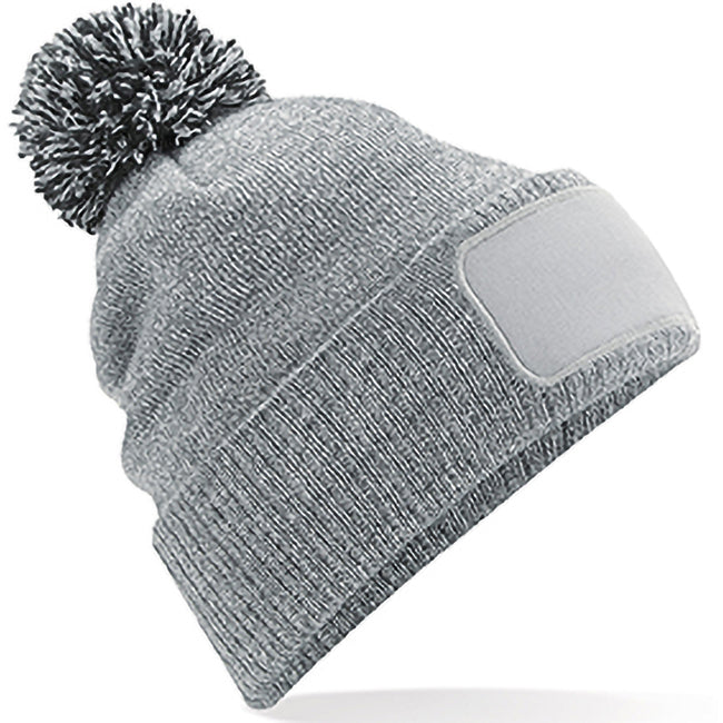 Heather Grey-Black - Front - Beechfield Unisex Adults Snowstar Printers Beanie