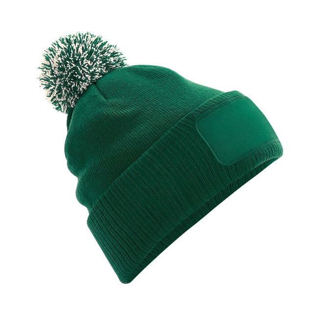 Bottle Green-Off White - Front - Beechfield Unisex Adults Snowstar Printers Beanie