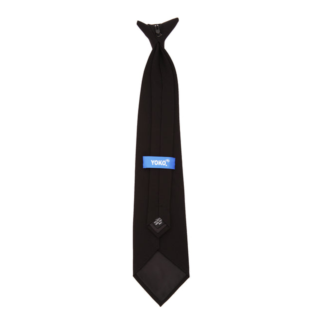 Black - Back - Yoko Clip-On Tie (Pack of 4)