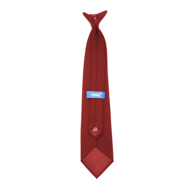 Burgundy - Back - Yoko Clip-On Tie (Pack of 4)