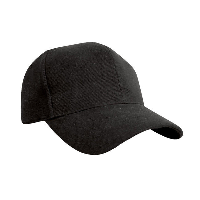 Black - Front - Result Pro Style Heavy Brushed Cotton Baseball Cap (Pack of 2)