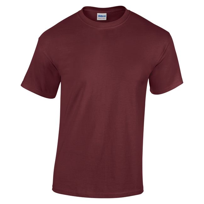 Maroon - Front - Gildan Childrens Unisex Heavy Cotton T-Shirt (Pack Of 2)