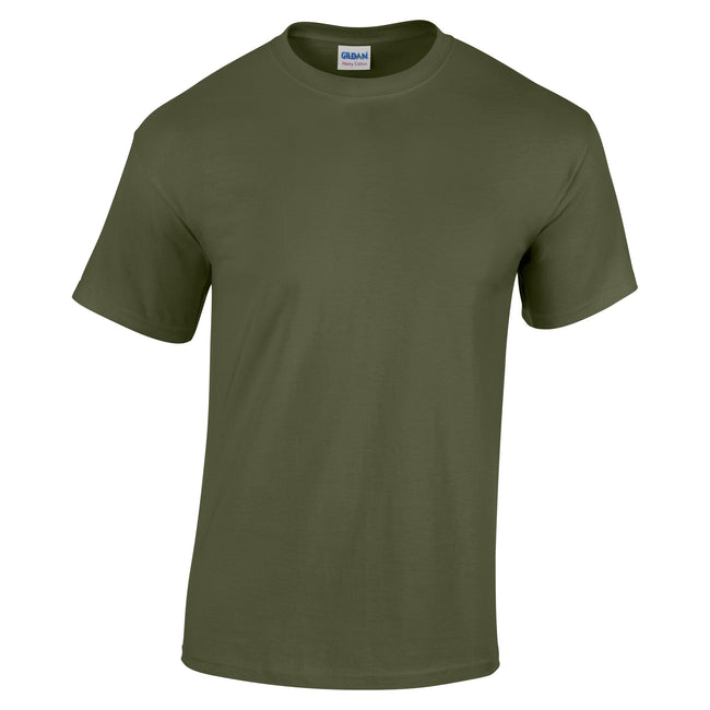 Military Green - Front - Gildan Childrens Unisex Heavy Cotton T-Shirt (Pack Of 2)