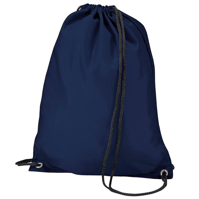 Navy Blue - Front - BagBase Budget Water Resistant Sports Gymsac Drawstring Bag (11 Litres) (Pack of 2)
