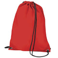 Red - Front - BagBase Budget Water Resistant Sports Gymsac Drawstring Bag (11 Litres) (Pack of 2)