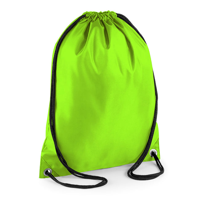 Lime - Front - BagBase Budget Water Resistant Sports Gymsac Drawstring Bag (11 Litres) (Pack of 2)