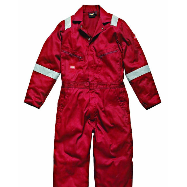 Red - Front - Dickies Mens Hi-Vis Stripe Workwear Coverall (Pack of 2)