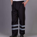 Navy Blue - Front - Yoko Mens Hi-Vis Waterproof Contractor Over Trousers (Pack of 2)