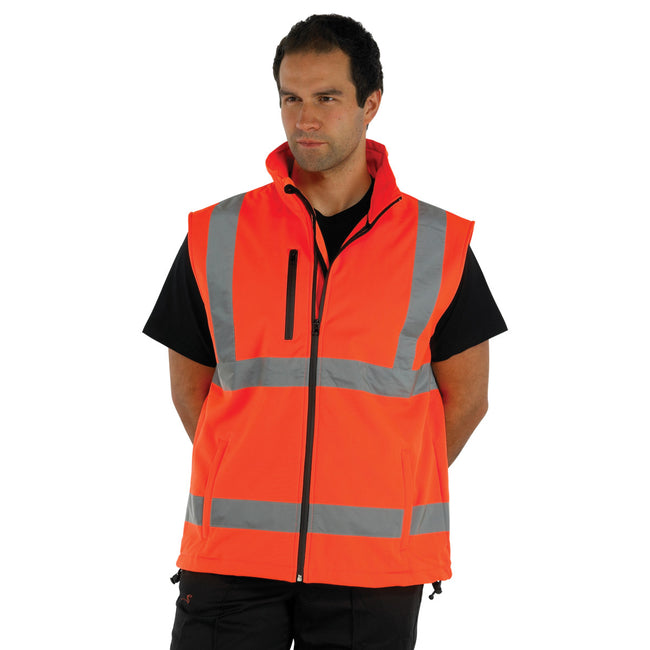 Hi-Vis Yellow - Front - Yoko Mens Hi Vis Softshell Bodywarmer - Workwear (Pack of 2)