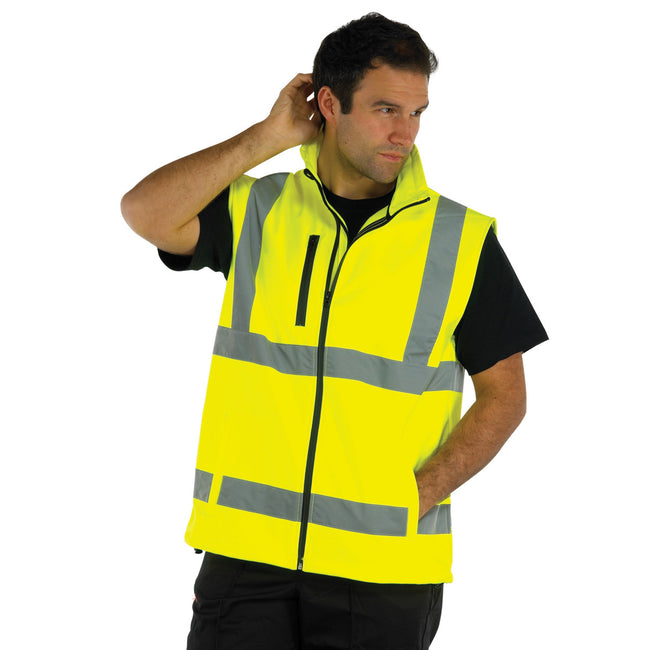 Hi Vis Orange - Front - Yoko Mens Hi Vis Softshell Bodywarmer - Workwear (Pack of 2)