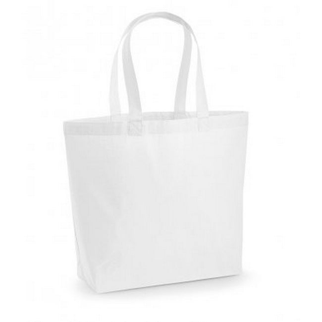 White - Front - Westford Mill Premium Cotton Maxi Tote Bag (Pack of 2)