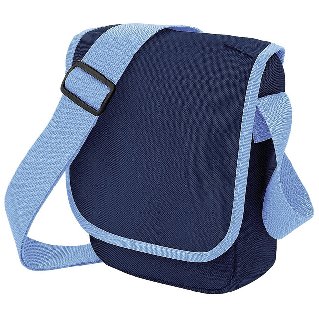 French Navy-Sky Blue - Front - Bagbase Mini Adjustable Reporter - Messenger Bag (2 Litres) (Pack of 2)