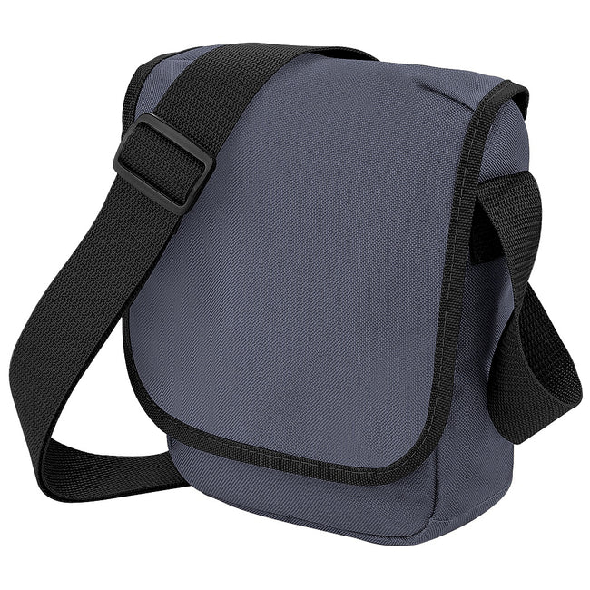 Graphite Grey-Black - Front - Bagbase Mini Adjustable Reporter - Messenger Bag (2 Litres) (Pack of 2)