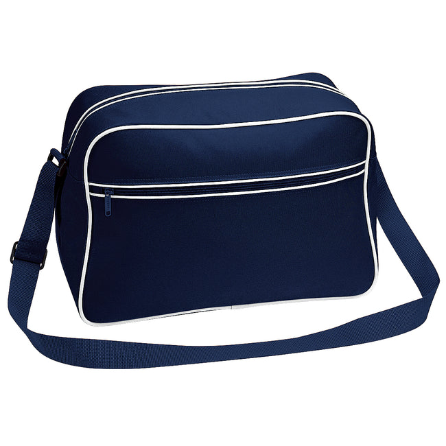 French Navy-White - Front - Bagbase Retro Adjustable Shoulder Bag (18 Litres) (Pack of 2)