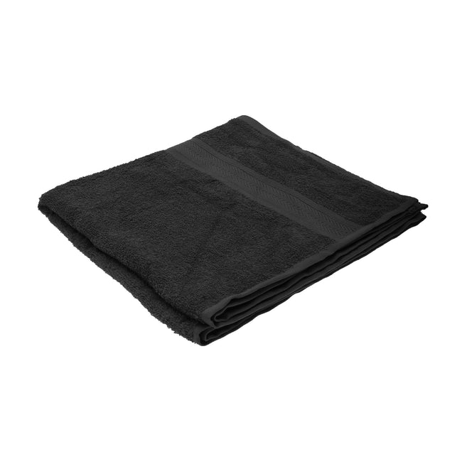 Black - Front - Jassz Plain Bath Towel 70cm x 140cm (350 GSM) (Pack of 2)