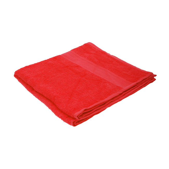 Red - Front - Jassz Plain Bath Towel 70cm x 140cm (350 GSM) (Pack of 2)