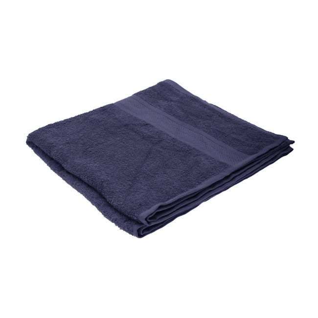 Navy Blue - Front - Jassz Plain Bath Towel 70cm x 140cm (350 GSM) (Pack of 2)