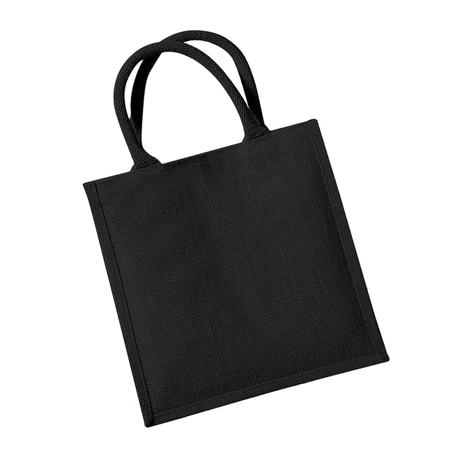 Black - Front - Westford Mill Jute Mini Tote Shopping Bag (14 Litres) (Pack of 2)