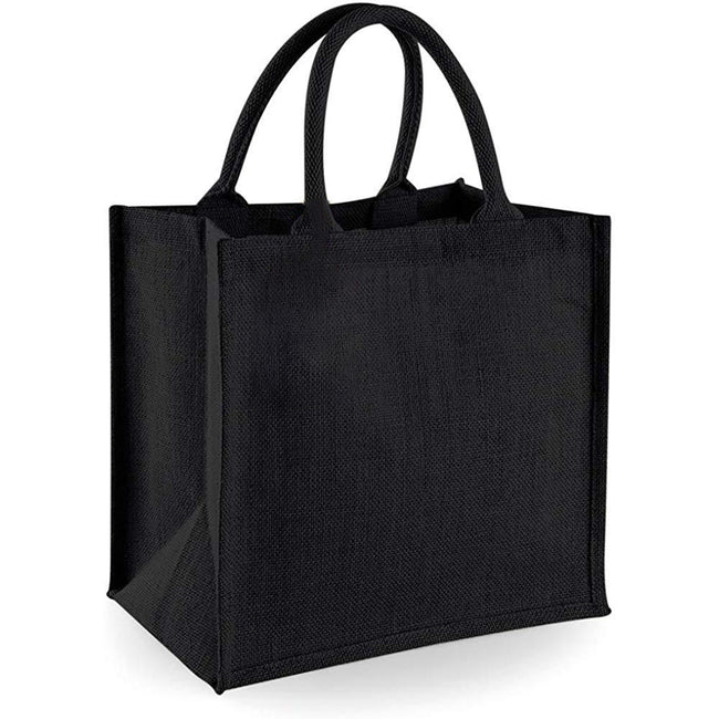 Natural - Front - Westford Mill Jute Mini Tote Shopping Bag (14 Litres) (Pack of 2)